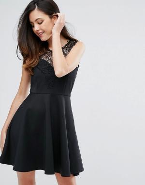 Zibi London Короткое приталенное платье с кружевной отделкой. Цвет: черный