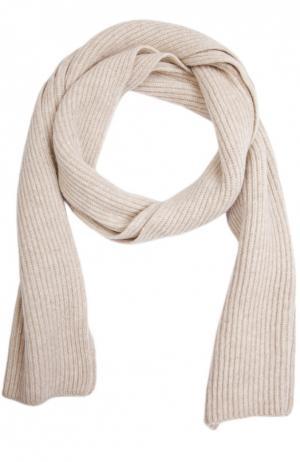 Вязаный шарф из кашемира Johnstons Of Elgin. Цвет: светло-бежевый