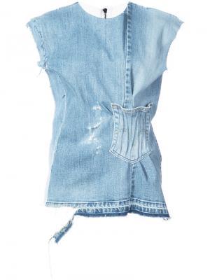 Джинсовая блузка без рукавов Maticevski. Цвет: синий
