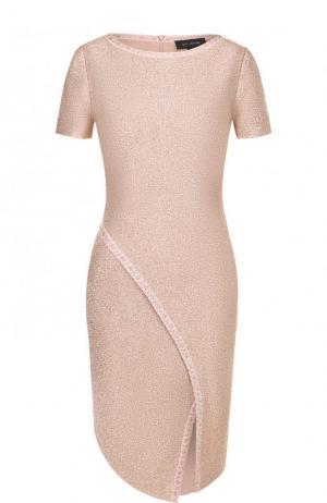 Приталенное платье-миди с коротким рукавом St. John. Цвет: розовый