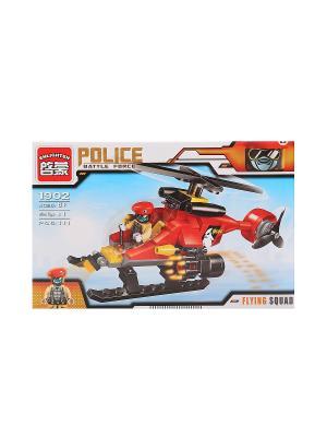 Конструктор пластиковый Вертолет с фигуркой, 111 дет. ENLIGHTEN. Цвет: красный, желтый, черный