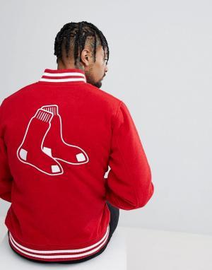 New Era Бомбер с добавлением шерсти и вышивкой на спине Boston Red Sox. Цвет: красный