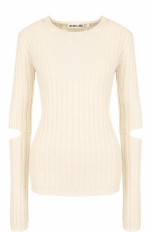 Шерстяной пуловер фактурной вязки с разрезами на рукавах Helmut Lang. Цвет: бежевый