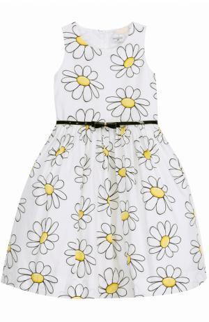 Платье с пышной юбкой и принтом Monnalisa. Цвет: белый