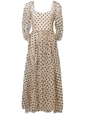 Вечернее платье в горох Isa Arfen. Цвет: телесный