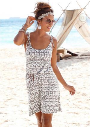 Пляжное платье Lascana. Цвет: песочный с рисунком