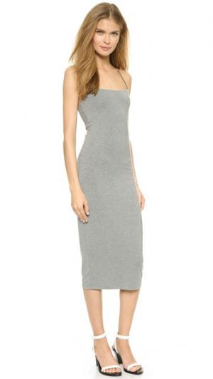 Платье без рукавов с полосками ткани T by Alexander Wang. Цвет: серый меланж