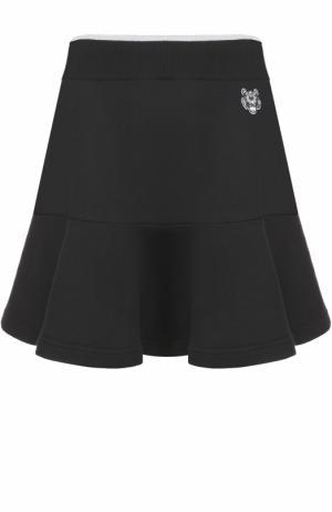 Хлопковая мини-юбка с оборкой Kenzo. Цвет: черный