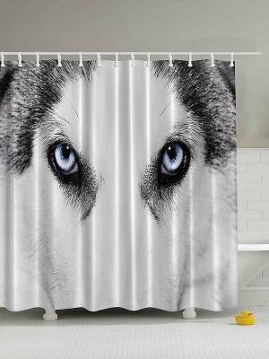 Фотоштора для ванной Милые собаки, 180*200 см Magic Lady. Цвет: черный, белый, серый