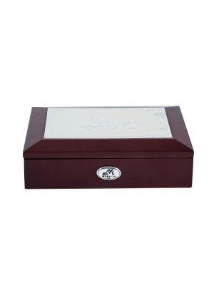 Шкатулка ювелирная MORETTO. Цвет: темно-коричневый, терракотовый, серебристый