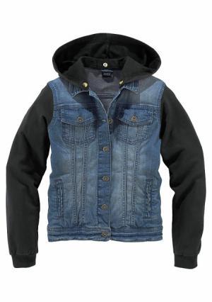 Джинсовая куртка Arizona. Цвет: синий деним/черный
