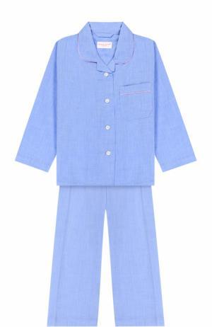 Хлопковая пижама Derek Rose. Цвет: голубой