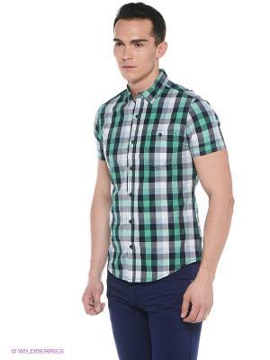 Рубашка Oodji. Цвет: зеленый, темно-синий