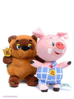 Набор из 2-х мягких игрушек Винни-Пух и Пятачок Мульти-пульти. Цвет: коричневый, розовый