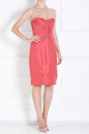 Шелковое платье J. Mendel. Цвет: красный