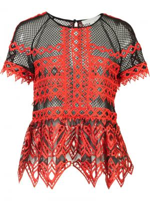Прозрачная блузка с оборками Jonathan Simkhai. Цвет: красный