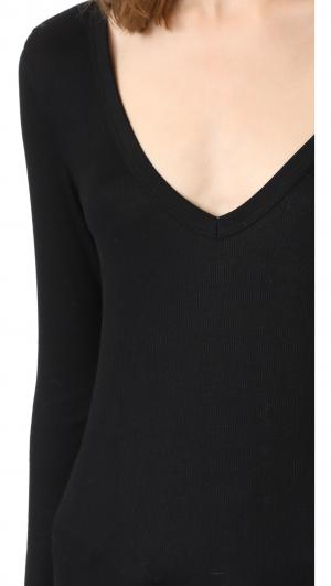Kailey V Neck Ribbed Top Feel The Piece