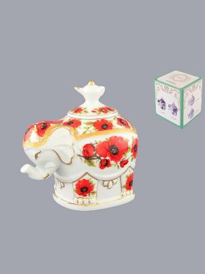 Чайница Слон Маки Elan Gallery. Цвет: белый, красный