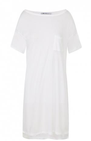 Удлиненная футболка свободного кроя с накладным карманом T by Alexander Wang. Цвет: белый