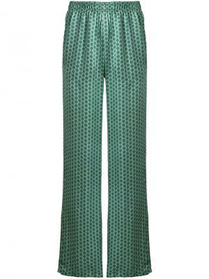 Расклешенные брюки с вышивкой Faith Connexion. Цвет: зелёный