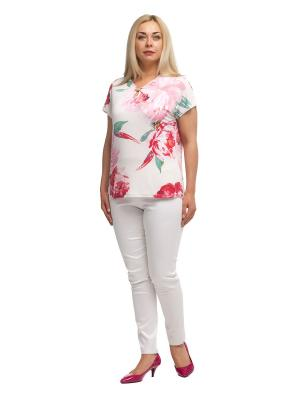 Блузка OLSI. Цвет: зеленый, белый, розовый