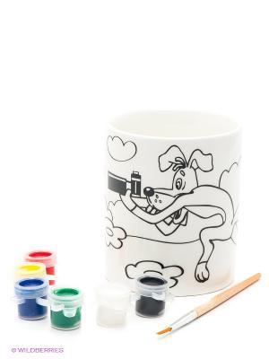 Кружка керамическая  с рисунком простоквашино (краски+кисточка) Multiart. Цвет: желтый, коричневый