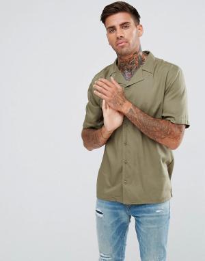 Another Influence Однотонная рубашка с отложным воротником и короткими рукавами. Цвет: зеленый