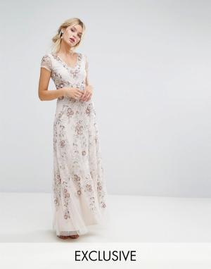 Amelia Rose Декорированное платье макси. Цвет: бежевый