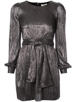Плиссированное платье с поясом For Love And Lemons. Цвет: металлический
