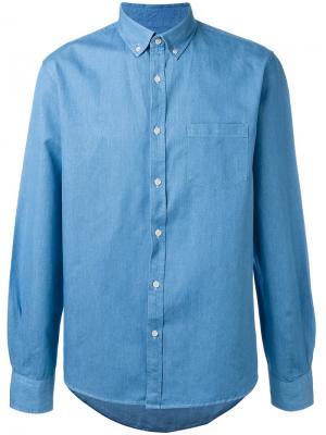 Джинсовая рубашка на пуговицах Sunspel. Цвет: синий