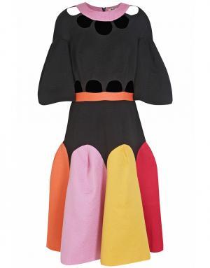 Хлопковое платье Tata Naka. Цвет: розовый, красный, желтый, оранжевый, черный