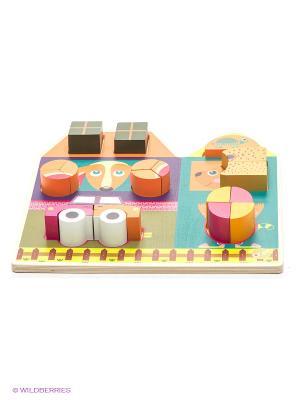 Игрушка развивающая - пазл Построй дом Oops. Цвет: белый, коричневый, морская волна, розовый, салатовый
