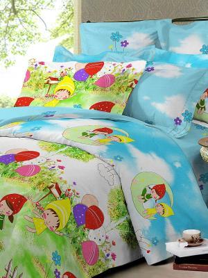 Комплект постельного белья Dream time. Цвет: голубой, зеленый