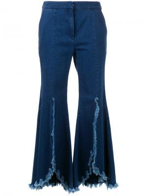 Укороченные джинсы с бахромой Goen.J. Цвет: синий