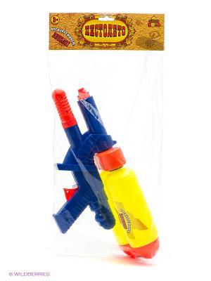 Водный пистолет с помпой и 2мя баллонами 37см. Тилибом. Цвет: прозрачный