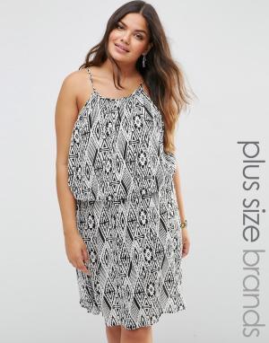 Diya Платье с геометрическим принтом Plus. Цвет: черный