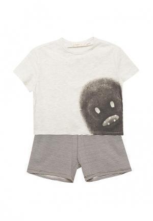 Пижама Mango Kids. Цвет: серый