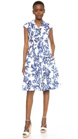 Платье-рубашка Lela Rose. Цвет: голубой