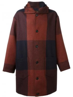 Пальто в клетку Cini. Цвет: красный