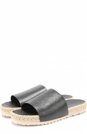 Кожаные шлепанцы на джутовой подошве Balenciaga. Цвет: черный