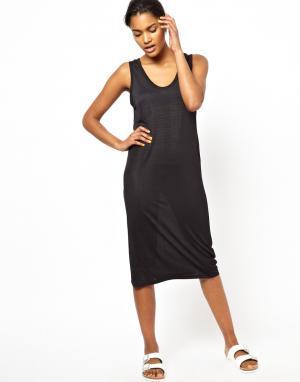 Платье-майка с эластичным поясом логотипом BACK by Ann-Sofie. Цвет: черный