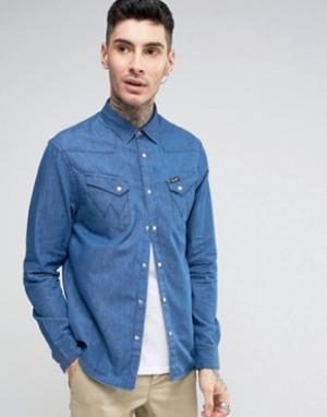 Wrangler Джинсовая рубашка в стиле вестерн с длинными рукавами. Цвет: темно-синий