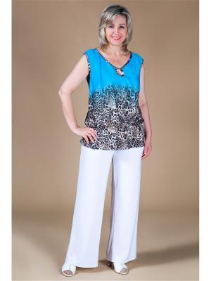 Блуза Милада. Цвет: бирюзовый, коричневый