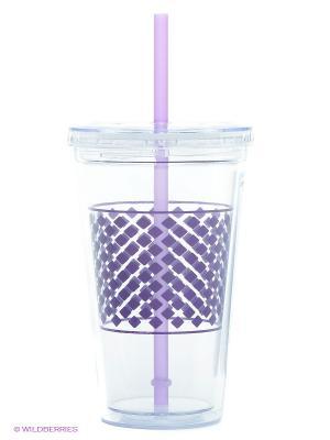 Стакан с трубочкой Frybest. Цвет: фиолетовый, прозрачный