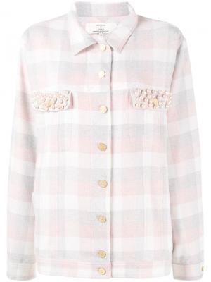 Рубашка в клетку Natasha Zinko. Цвет: розовый и фиолетовый