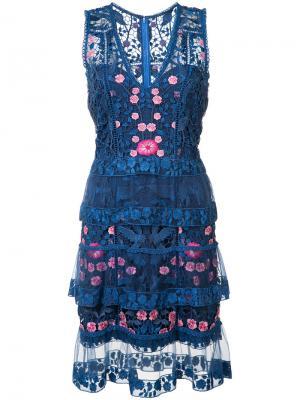 Платье с цветочным узором Marchesa Notte. Цвет: синий