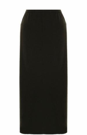 Однотонная шерстяная юбка-миди Tegin. Цвет: хаки