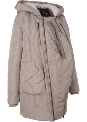 Мода для беременных: куртка с подкладкой и карманом-вкладкой малыша (натуральный камень) bonprix. Цвет: натуральный камень