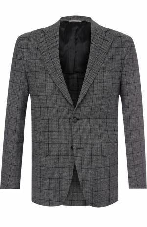 Однобортный пиджак в клетку из смеси шерсти и кашемира Canali. Цвет: серый