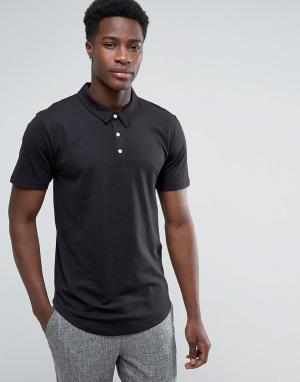 Troy Трикотажная футболка-поло с закругленным низом. Цвет: черный